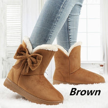 Load image into Gallery viewer, Winter Boots for Women Warm Ankle Bowtie Boots Cotton Shoes Snow Boots Plus Size 35-44