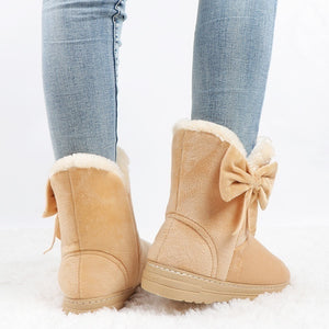 Winter Boots for Women Warm Ankle Bowtie Boots Cotton Shoes Snow Boots Plus Size 35-44