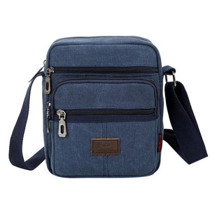 Men Casual Canvas Crossbody Bags Solid Color Male Zipper Shoulder Messenger Bag