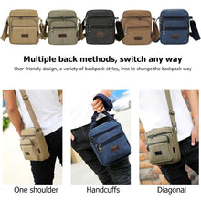 Load image into Gallery viewer, Men Casual Canvas Crossbody Bags Solid Color Male Zipper Shoulder Messenger Bag