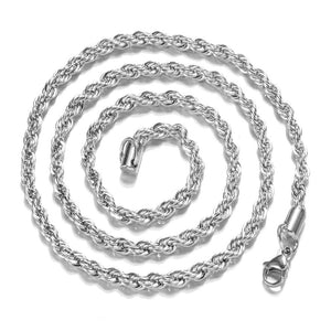 4MM Stamped 925 Sterling Silver Twisted Rope Chain Necklace (16-30 inches)