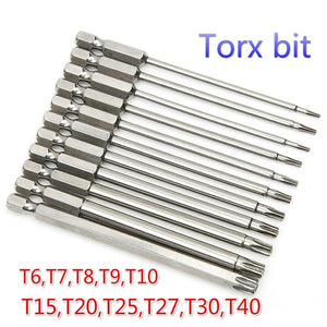 11PCS/Set 50/65/75/100mm S2 Alloy Steel Torx Screwdriver Bits Tool Set 1/4\ Hex Torx Socket Set Handle Tools