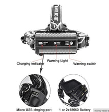 Load image into Gallery viewer, 2020 NEW Waterproofing design Headlamp LED Torch 5XM-L T6 18650 Headlight Lamp