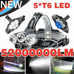 2020 NEW Waterproofing design Headlamp LED Torch 5XM-L T6 18650 Headlight Lamp