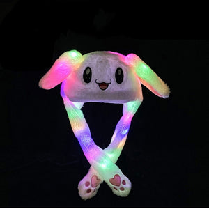 Furry Rabbit Cap Creative Lighting Ear Moving Luminous Cap Parent and Son Cap Cartoon