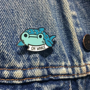 Pop Cartoon Aquatic Animal Enamel Brooch Oh Whale Women Decoration Jewelry Brooch Collar Corsage Shirt Bag Cap Jacket Pin Badge Lovely Gift