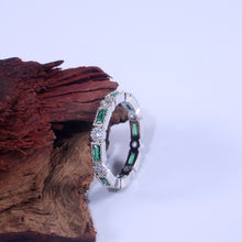 Load image into Gallery viewer, NEW Fashion Exquisite 925 Sterling Silver Blue Green Red Gemstone Stackable Diamond Jewelry Bride Eternity Wedding Engagement Fine Jewelry Gifts Size: 5-11