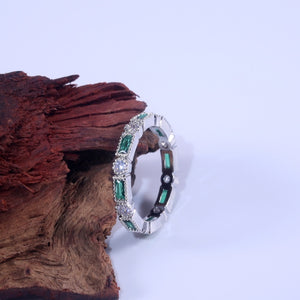 NEW Fashion Exquisite 925 Sterling Silver Blue Green Red Gemstone Stackable Diamond Jewelry Bride Eternity Wedding Engagement Fine Jewelry Gifts Size: 5-11