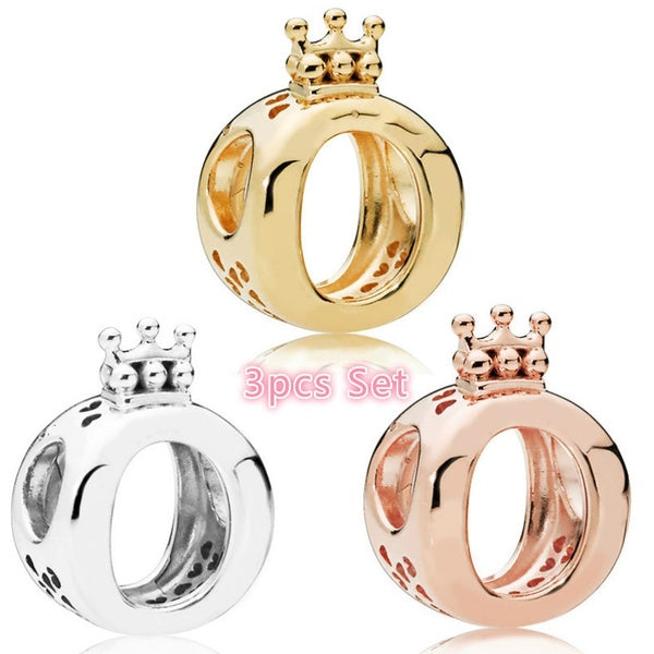3pcs NEW Fashion Jewelry Making 925 Sterling Silver Rose Gold Crown Heart for Necklace European charms Silver beads for bracelet DIY