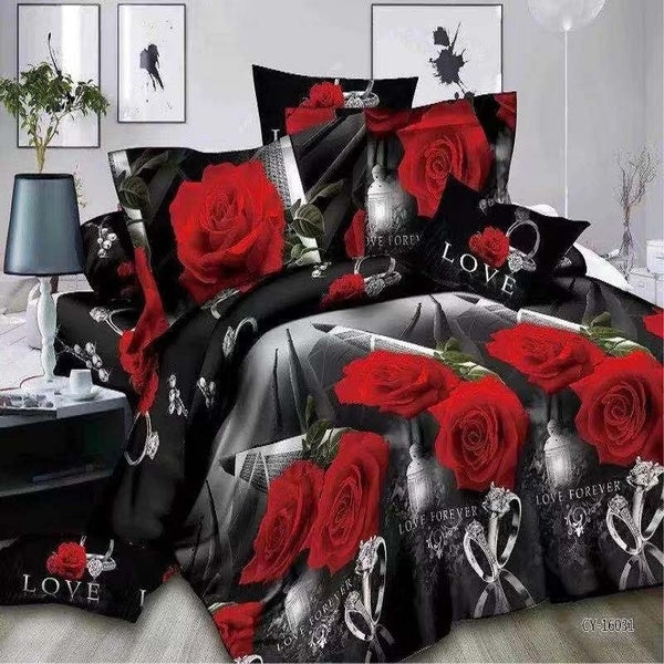 2/3pcs Fashion 3D Rose and Diamond Ring Print Love Wedding Bedding Sets Queen King Size Duvet Cover Comforter Bedclothes Bed Set