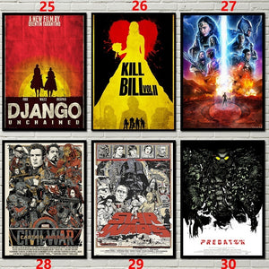 Classical Movie Abstract Poster Pulp Fiction/fight Club/kill Bill/Back To The Future/Django Unchained Kraft Art Wall Decoration