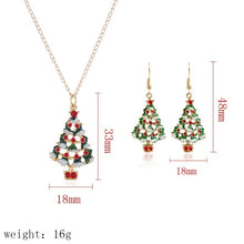 Load image into Gallery viewer, Cute cartoon drop oil color Christmas tree Christmas gift earrings necklace set 3pcs