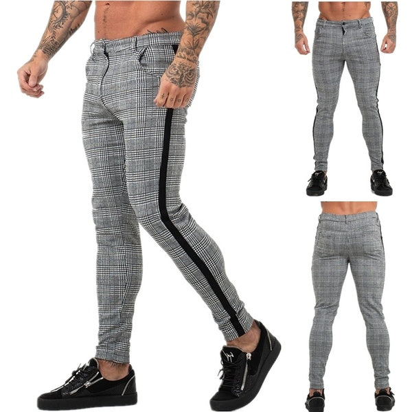 Mens Pant Chinos Slim Fit Plaid Pants Mens Social Trousers Mens British Pants Mens Skinny Formal Trousers Business Pants Pantalon