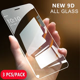3Pcs/Pack All-glass New 9D Tempered Glass Screen Protector for iPhone Phone (iPhone XS MAX, iPhone XS, iPhone XR, iPhone X, iPhone 8Plus, iPhone 8, iPhone 7Plus, iPhone 7, iPhone 6Plus, iPhone 6S, iPhone 6, iPhone 6S Plus  etc.)