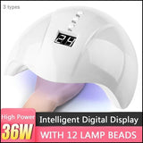36W/24/6 LED/UV Lamp Nail Polish Dryer 3 Gear Timing Smart Induction Nail Lamp