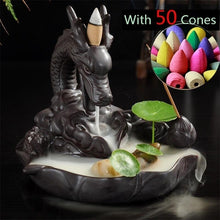 Load image into Gallery viewer, Retro Handmade Porcelain Ceramic Backflow Incense Burner Buddhist Decoration Home Aromatherapy With 50 pcs Backflow incense cones