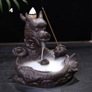 Retro Handmade Porcelain Ceramic Backflow Incense Burner Buddhist Decoration Home Aromatherapy With 50 pcs Backflow incense cones