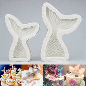 Gray Mermaid Tail Silicone Fondant Cake Mould Decoration Sugarcraft Icing Mold