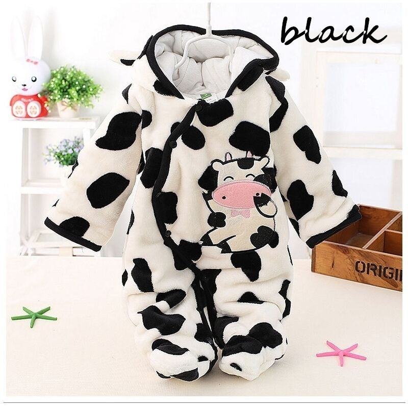 Newborn Baby Romper Coral Fleece Winter Cute Bear Rompers Boy Girl Infant Clothes Snowsuit Babies Jumpsuits