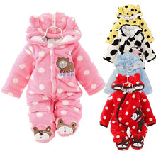 Load image into Gallery viewer, Newborn Baby Romper Coral Fleece Winter Cute Bear Rompers Boy Girl Infant Clothes Snowsuit Babies Jumpsuits
