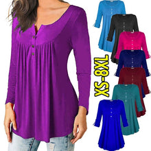 Load image into Gallery viewer, XS-8XL Women Autumn Winter Plus Size Tops Long Sleeve T-shirts Ladies Fashion Pure Color Pleated V-neck Blouses Cotton Slik Loose Button-down Shirts