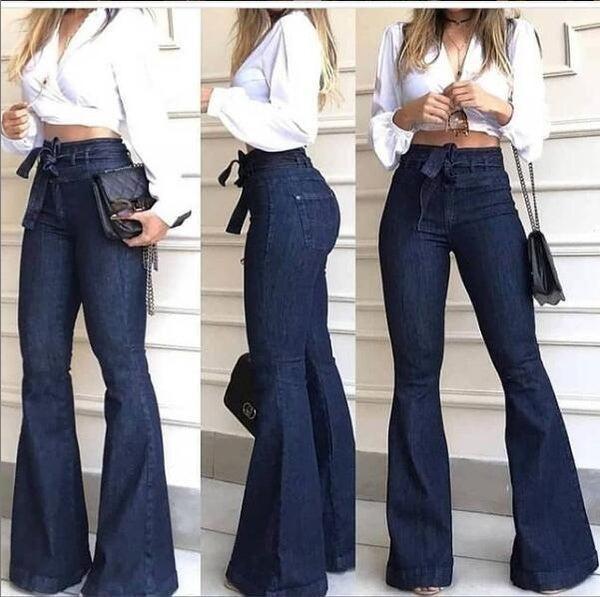 Womens Fashion Lace High Waist Jeans High Stretch Wide Leg Pants for Women
