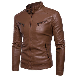Men Leather Jacket Autumn Winter Fashion  Male Business Casual Coat  Mens  Personality  Jacket Large Size