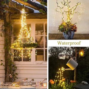 10 Strands 200 LEDs Solar Powered Twinkle Fairy Lights Waterproof Timbo String Lights Decorative Silver Wire Vine Solar Lights for Outdoor, Garden, Christmas Tree