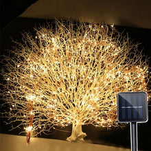 Load image into Gallery viewer, 10 Strands 200 LEDs Solar Powered Twinkle Fairy Lights Waterproof Timbo String Lights Decorative Silver Wire Vine Solar Lights for Outdoor, Garden, Christmas Tree