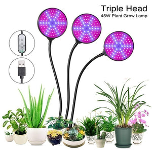 Plant Grow Light 30W (15Wx2) Dual Head LED Plant Growing Lamps Bulbs Clip on Desk with 360 Degree Adjustable Gooseneck for Indoor Plants Hydroponics Greenhouse Garden Home Office USB Plug