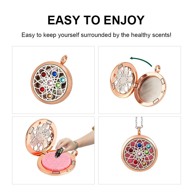 9 Style New Aromatherapy Jewelry Aroma Diffuser Necklace Perfume Essential Oil Locket Necklace with 10pcs Felt Pads Women Gifts