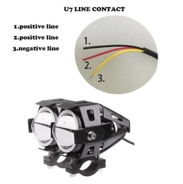 U7 125W 12V LED 3000LM Waterproof Upper Low Beam Flash Motorcycle Headlight Motorbike Driving Fog Spot Head Light Lamp (1/2PCS)