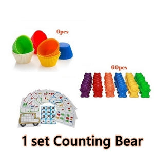 1Set Counting Bears with Stacking Cups - Montessori Rainbow Matching Game Educational Color Sorting Toys for Toddlers Baby