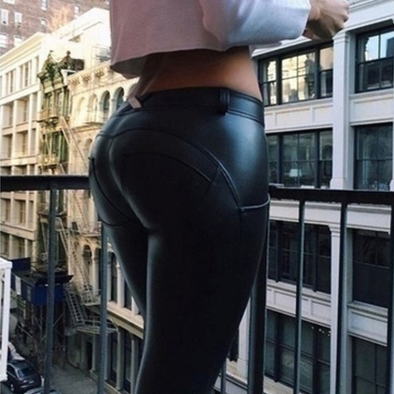 New Tights Elastic Force Hot-Ass PU Tight Leather Pants Women Black Footless Leggings Sports Yoga Pants Plus Size