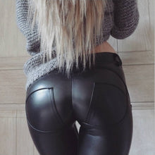 Load image into Gallery viewer, New Tights Elastic Force Hot-Ass PU Tight Leather Pants Women Black Footless Leggings Sports Yoga Pants Plus Size