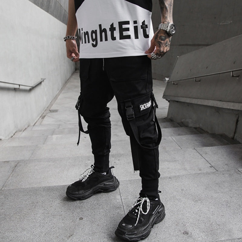 Fashion Men Pants Hip Hop Joggers Men Black Harem Pants Multi-pocket Ribbons Men Sweatpants Streetwear Casual Mens Pants