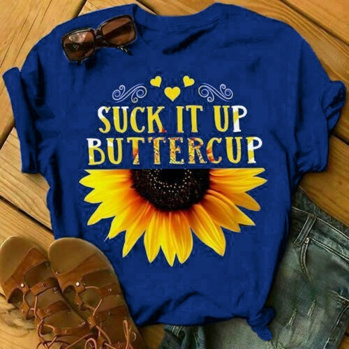 4 COLORS Plus Size S-5xl  SUCK IT UP BUTTERCUP Sunflowers Printed Short Sleeve T Shirts Cotton Round Neck Tee Tops