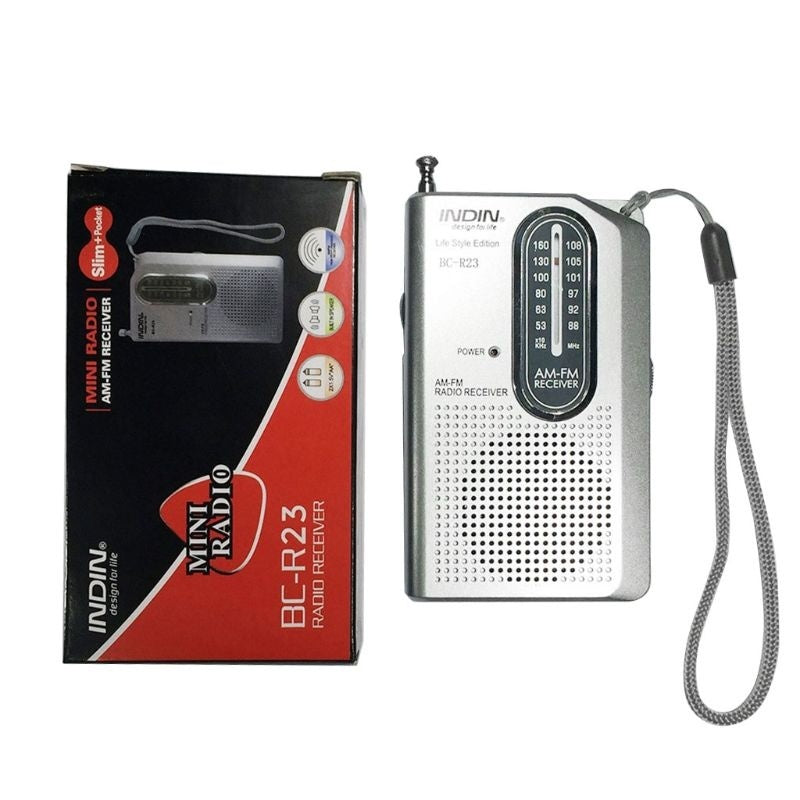 Mini Portable Radio Pocket AM/FM Transistor Radio Player with Earphone Jack for Old People Walking Hiking Camping Outdoor Activities HAR
