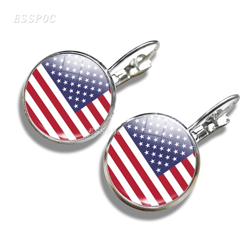 Fashion Women National Flag the USA UK Albania Afghanistan Algeria Sweden South Africa Andorra Glass Dome Hook Earrings for International Celebration Decoration