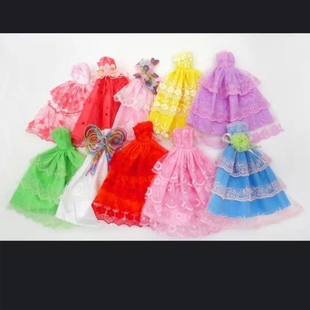 5Pcs dress Handmade Princess Wedding Dress Noble Party Clothes For Barbie Doll Gift Toys