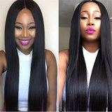 1 Piece Brazilian Wig Straight Lace Closure Wig Lace Front Human Hair Extensions Wigs Pre-Plucked with Baby Hair Non Remy Weave