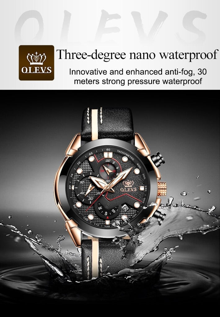 Original Brand Men's Quartz Sport Military Analog Quartz Watch Auto Date Chronograph Watches + Waterproof Leather Case