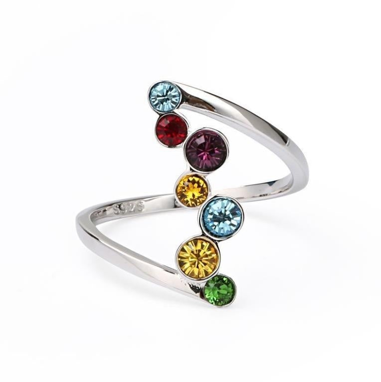 Fashion Jewelry Olivine & Aquamarine & amethyst & Topaz Gemstones 925 Sterling Silver Ring