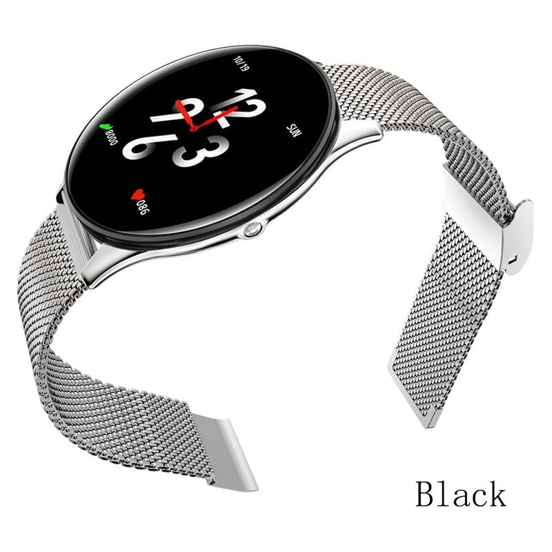 Ultra-thin Stainless Steel Smart Watch Men Fashion Fitness Tracker Heart Rate Monitor Bracelet with Sports Pedometer Heart Rate Detection Call Reminder Functions