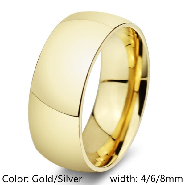 4/6/8mm Width Wedding Bands Rings Never Fade Gold Silver Plated Ring Men/Women Gift Classic Gold for Men Jewelry