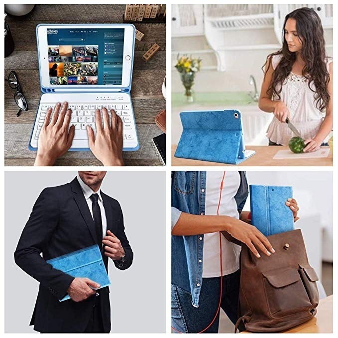 Fashion Soft Leather Magnetic Protective Case With Detachable Wireless Bluetooth Keyboard For iPad 5 6 9.7 iPad Air 2 3 10.5 2019 iPad Mini 1 2 3 4 5 iPad Pro 9.7 10.5 11 12.9 2018