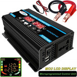 Power Inverter Peaks Power 4000W LCD DC 12V 24V To AC 110V 220V Power Inverter Voltage Convertor + Cigarette Lighter Plug + 2 Battery Clip