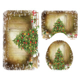 Christmas Print Toilet Bathroom Mat And Shower Curtain Four-Piece  Set