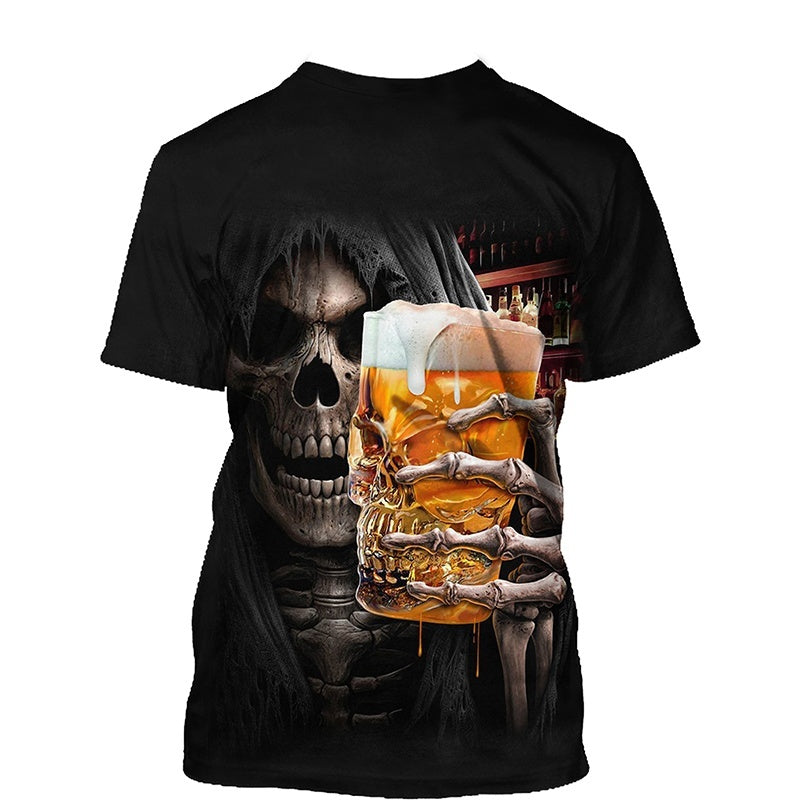 New Arrived Fashion Skull 3d Printed T-shirts Mens Womens Short Sleeve Tees Plus Size