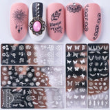 1Pcs Nail Art Stamping Plates Fashion Lace Flower Cats Templates Polish Stamper DIY